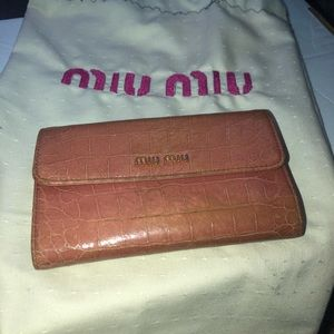 Miu Miu pink leather wallet w/kiss lock coin pouch